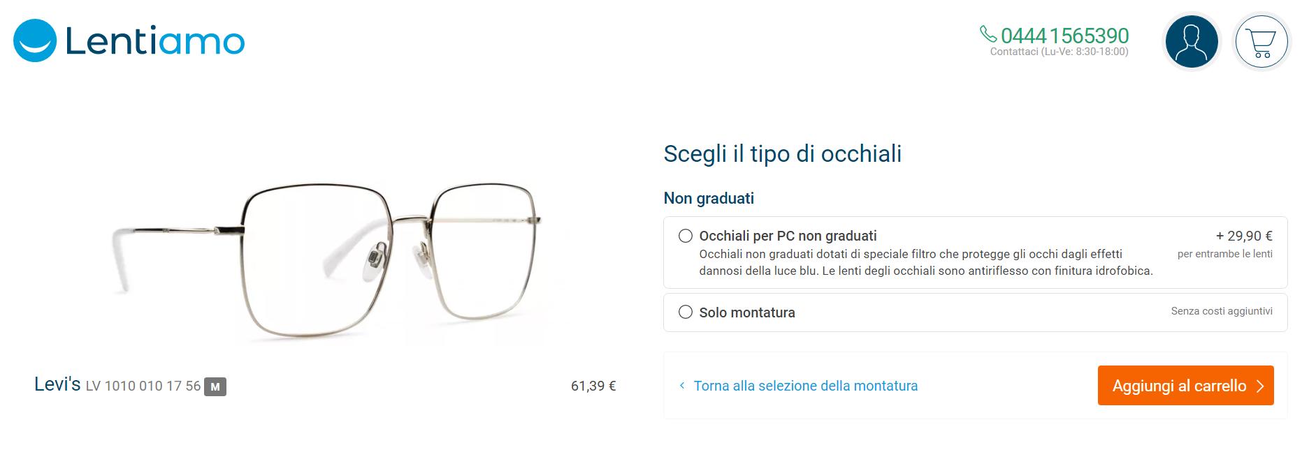 come acquistare occhiali online su Lentiamo
