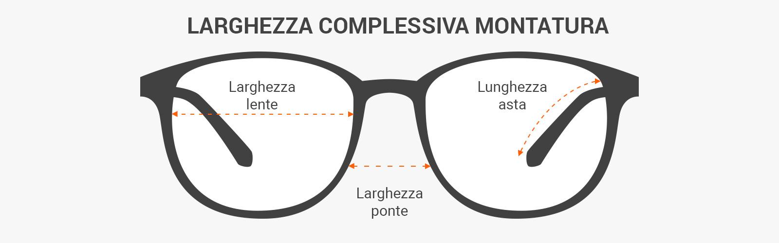 come leggere le misure degli occhiali da sole - calibro, larghezza del ponte e lunghezza delle aste